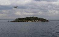 Чайка, парящая над необитаемым островом / Фото из Турции