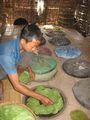 Тон ю сушат листья шрута / Мьянма