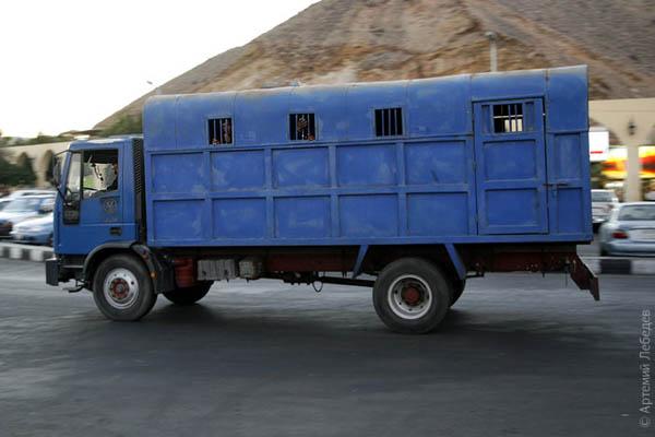 Воронок с жизнерадостными арестантами / Фото из Египта