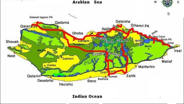 Карта острова и маршрута / Йемен