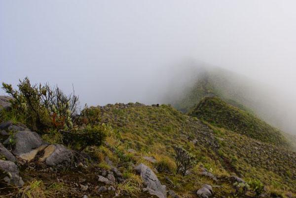 Туман на гребне кратера / Фото из Малайзии