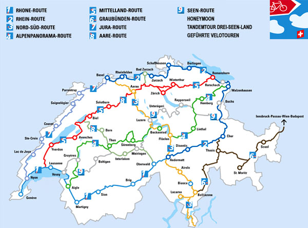 Карта велосипедных маршрутов по Швейцарии / Фото из Швейцарии