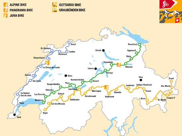 Карта горных велосипедных маршрутов по Швейцарии / Фото из Швейцарии