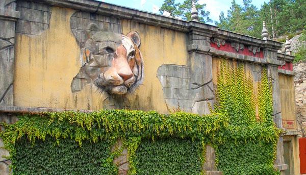 Вольер с тиграми отделен толстой стеной / Фото из Швеции