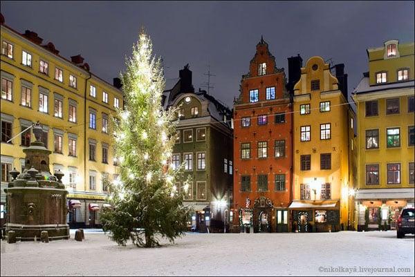 Стокгольм зимним вечером, Швеция / Фото из Швеции