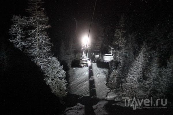 Ночное катание на подъемнике 5 Torri / Фото из Италии