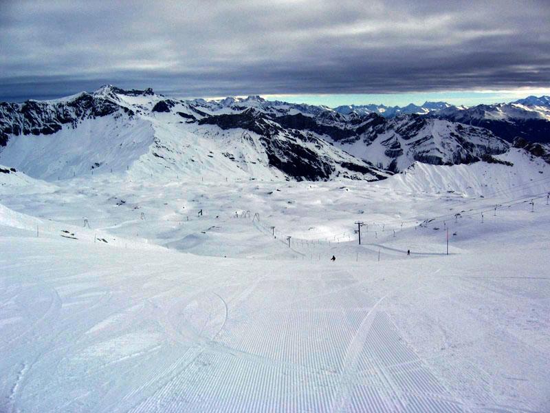 """Вид на """"синюю"""" трассу с ледника Дьяблере / Фото из Швейцарии"""