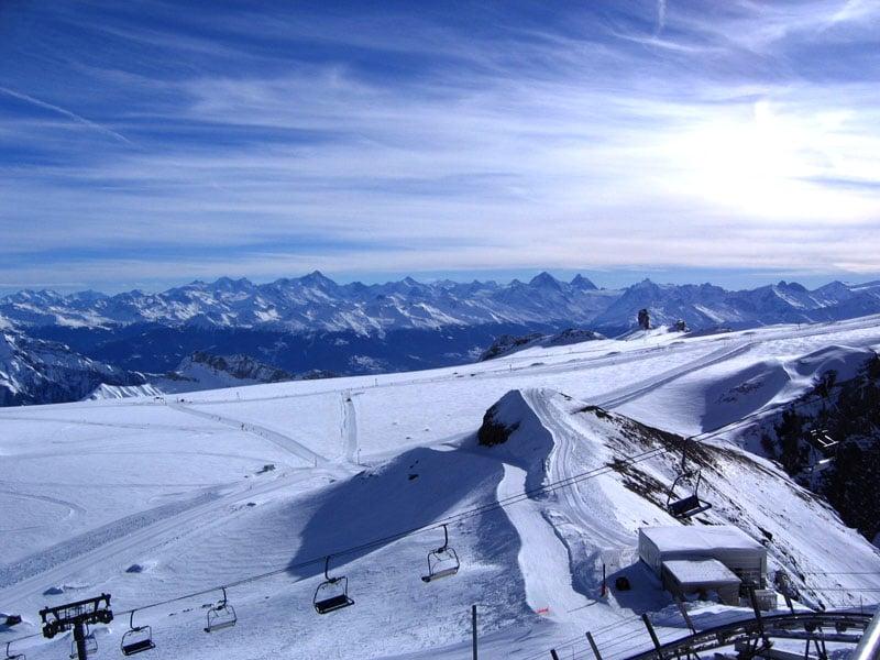 Верхний узел трасс на пике Се-Руж / Фото из Швейцарии