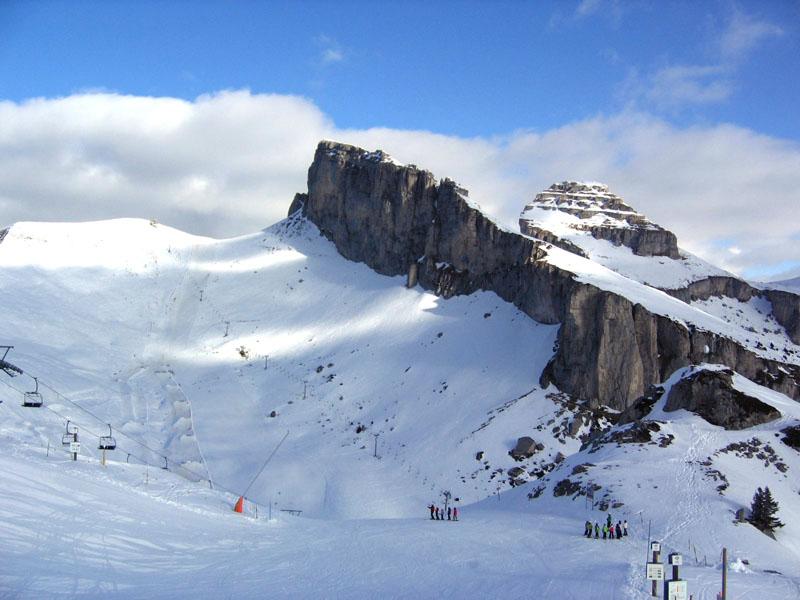 Вид с верхней станции канатки на зону катания и пик Аи / Фото из Швейцарии
