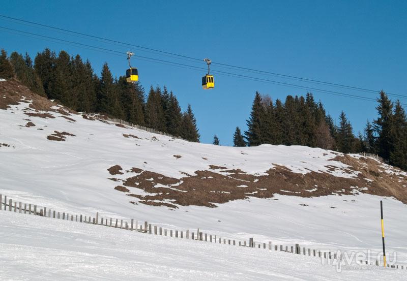Желтые кабинки подъемника Penkenbahn / Фото из Австрии