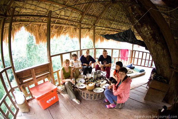 Трапеза в доме на дереве / Фото из Лаоса