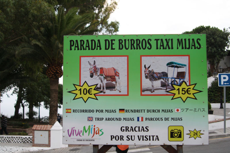 Реклама «ослиного такси» в Михасе, Испания / Фото из Испании