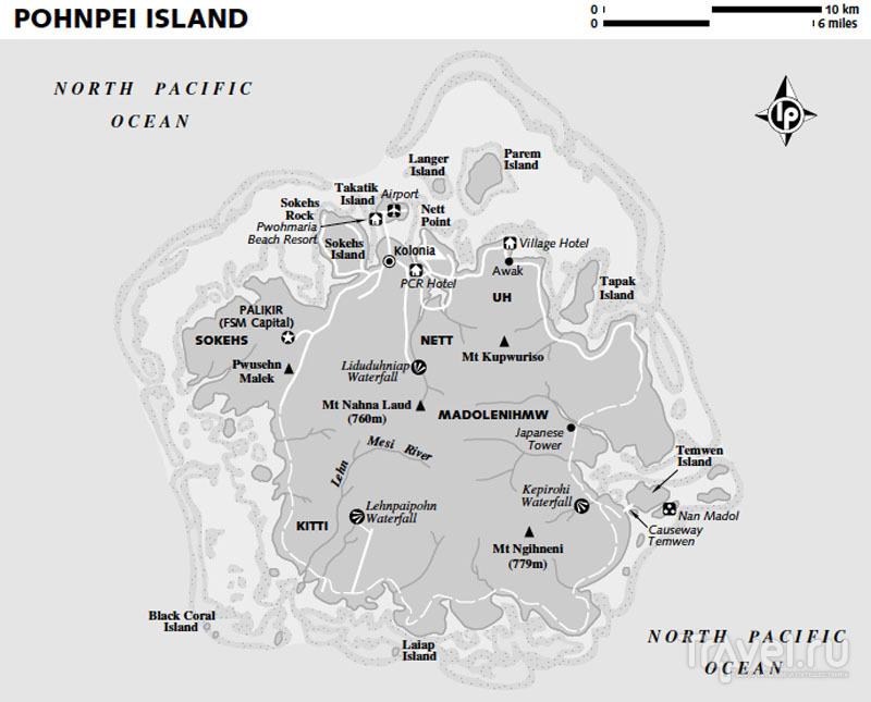 Карта острова Понпеи, Микронезия / Фото из Микронезии