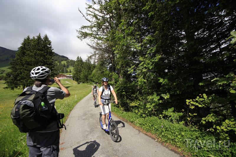 Спуск с горы на троттибайке / Фото из Швейцарии