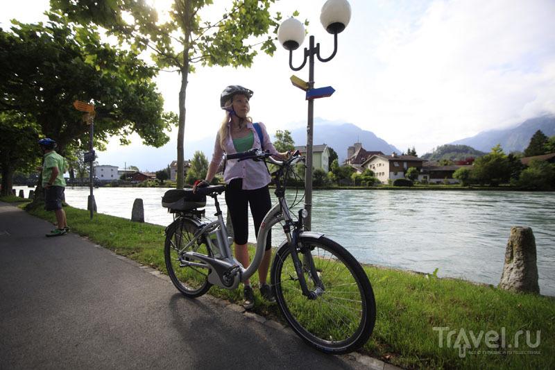 Велосипедистка в Швейцарии / Фото из Швейцарии