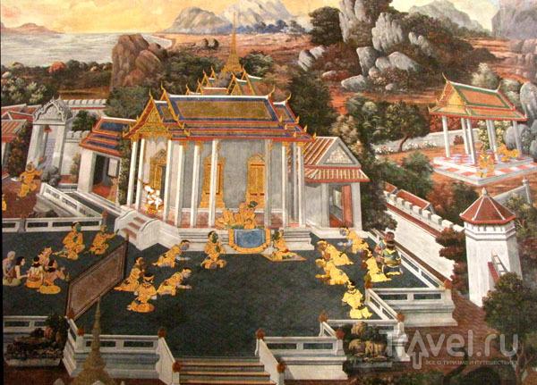 Фрески на стенах храмового комплекса у королевского дворца в Бангкоке, Таиланд / Фото из Таиланда