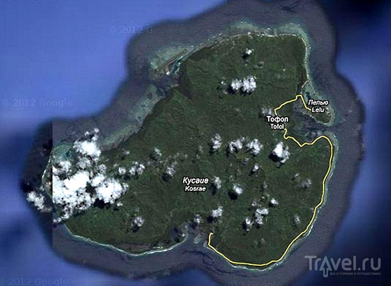 Карта острова Косрае, Микронезия / Фото из Микронезии