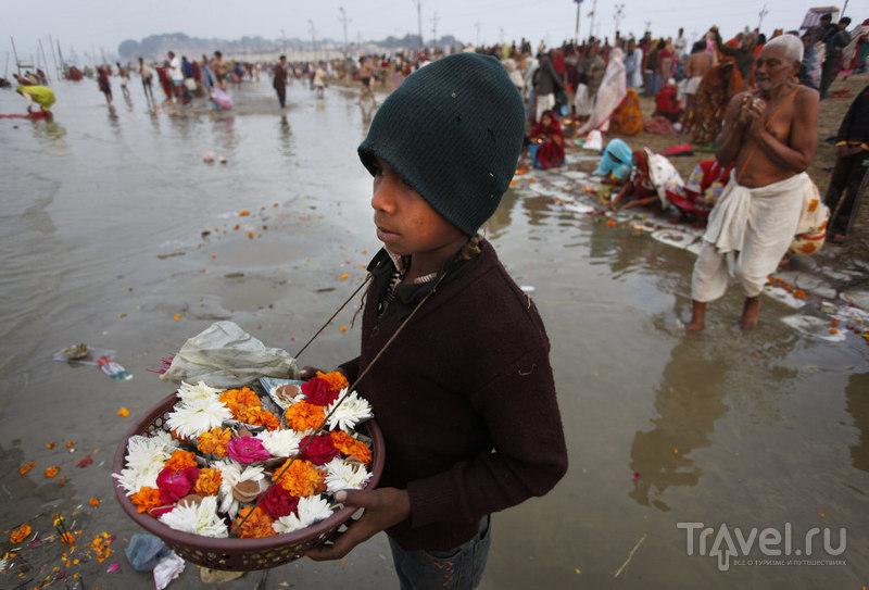 Мальчик продает цветы / Индия