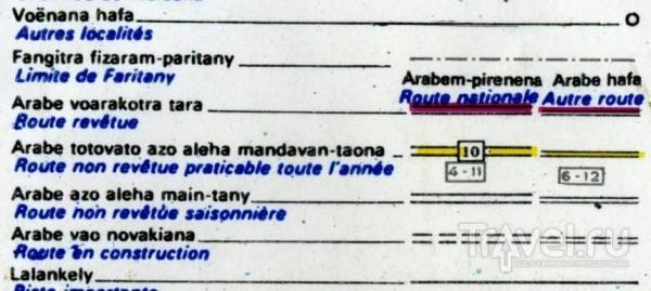 Обозначение дорог на карте / Мадагаскар