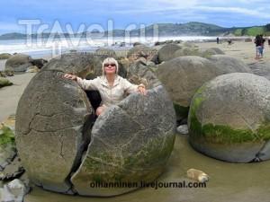 Шарообразные чудеса природы - новозеландские Валуны Моераки / Новая Зеландия