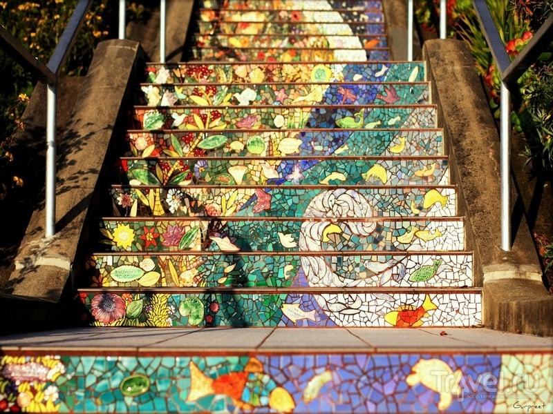 Узоры и орнаменты на ступенях, украшенных разноцветной плиткой и зеркальной керамикой, Сан-Франциско / США