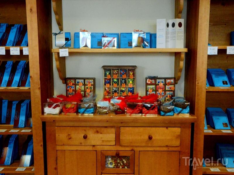 Огромный выбор шоколада в лавке при шоколадной мастерской DAVID в Кран-Монтане / Фото из Швейцарии