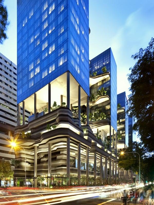 Вертикальные сады отеля Parkroyal on Pickering в Сингапуре / Сингапур