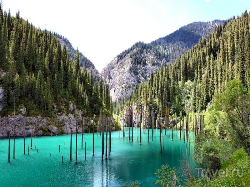 Длина озера Каинды составляет 400 метров, а глубина – 25 метров, Казахстан / Казахстан