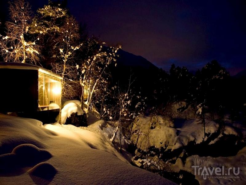 Зимние пейзажи отеля Juvet Landskapshotell в Норвегии / Норвегия