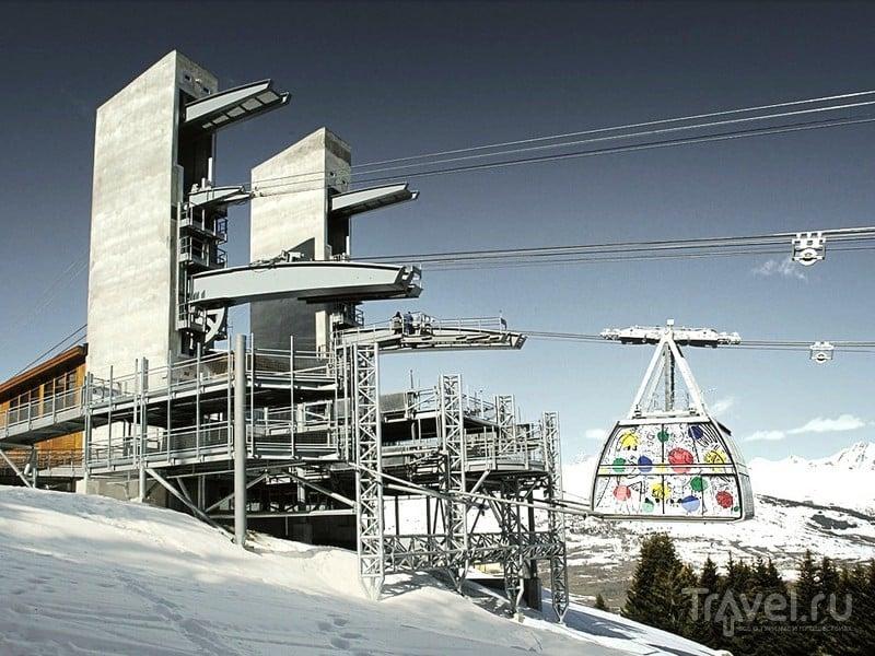 Канатная дорога Vanoise Express связывает альпийские области катания Ла-Плань и Лез-Арк, Франция / Франция
