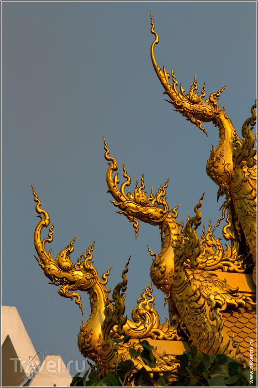 За неимением росписей - золотые драконы с храмового туалета / Фото из Таиланда