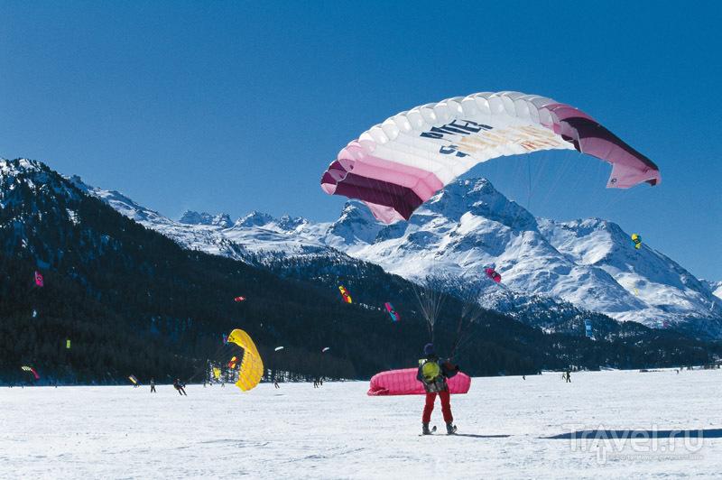 Зимний кайтинг на высоте 1800 метров / Швейцария