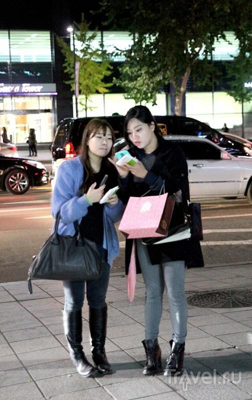 Сеул. Район Gangnam вечером