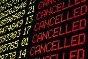 Сообщение об отмене рейса на табло