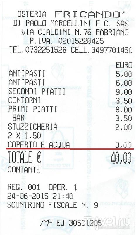 За что мы платим в итальянском ресторане / Италия