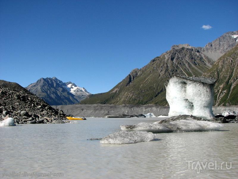 В стране антиподов. Черные айсберги Тасманова озера / Фото из Новой Зеландии