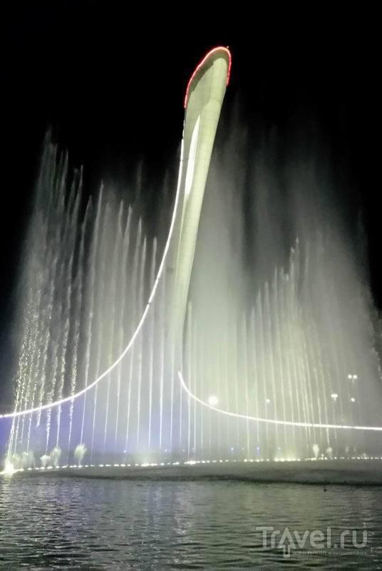 Поющие фонтаны в Олимпийском парке во время музыкального представления / Россия
