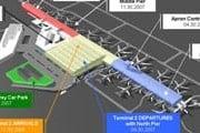 План аэропорта Варшавы. Терминал 2 - квадратное здание в центре. Слева к нему примыкает старый терминал 1. // www.lotnisko-chopina.pl