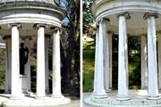 На фото слева: статуя еще на месте. // diepresse.com