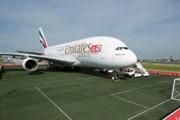 Самолет Emirates на нарисованном футбольном поле на выставке в Берлине // emirates.com