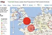 Пользователи отмечают на карте места, популярные у карманников. // pickpocketmap.com