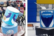 Памятник в Рогачеве (слева) и Сургуте (справа). // Travel.ru