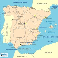 Карта курортов Испании