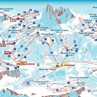 Схема трасс в Валь-Гардена (Доломитовые Альпы)