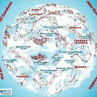 Схема трасс в зоне Селла-Ронда (Доломитовые Альпы)