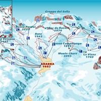 Схема трасс в Араббе и Мармолада (Доломитовые Альпы)