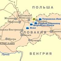Карта горнолыжных курортов Словакии