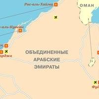 Карта эмиратов Дубай - Фуджейра