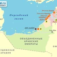 Карта курортов ОАЭ