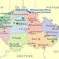 Карта курортов Чехии
